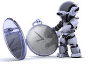 Robot with classic pocket watch — Stock Photo