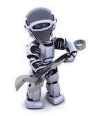 Robot with spanner — Stock Photo