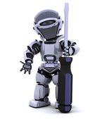Robô com uma chave de fenda — Foto Stock