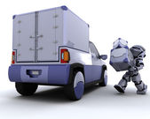Robot loading boxes into the back of a truck — Stock Photo