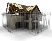 Contemporary house under construction with scaffold — Foto de Stock
