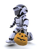 Robot with jack o lantern pumpkin — Stock Photo