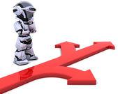 Robot con il simbolo freccia — Foto Stock