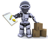 Robot with clipboard and boxes — Stock Photo