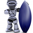 Robot with a surf board — Stock Photo