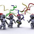 Stock Photo: Robots celebrating at a christmas party