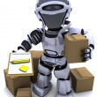 Robot with Shipping Boxes — Stock Photo
