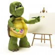 Tortoise with easel and paint palette — Stock Photo #37740379