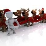 Santas sleigh and reindeer — Stock Photo