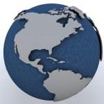 regio Noord Amerika van Globe weergegeven: — Stockfoto