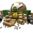 Stock Photo: Tortoise with trash and waste