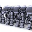 Robot shutting down army of robots — Stock Photo #37741187