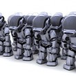 Robot shutting down army of robots — Stock Photo