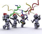 Robots celebrando en una fiesta de navidad — Foto de Stock