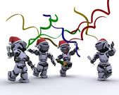 Robôs a celebrar uma festa de natal — Foto Stock