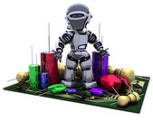 Robot With Capacitors Resistors and semi-conductors — Stock Photo