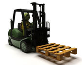 Tortoise driving a forklift truck — Stock Photo