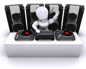 DJ mixing records on turntables — Stock Photo