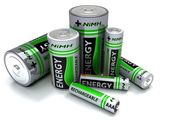 Various sized NiMH Batteries — Stock Photo