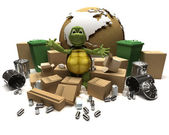 Tortoise with a trash and waste — Stock Photo