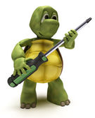 Tortoise with a screwdriver — Stock Photo