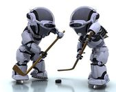 Robots playing icehockey — Stock Photo