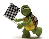 Tortoise with a chequered flag — Stock Photo