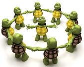 Tortoise leading a team — Stock Photo