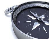 Chrome navigational compass — Stock Photo