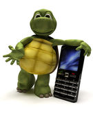 Tortoise with a cell phone — Stock Photo