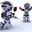 Stock Photo: Robot with romantic gift
