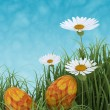 Stock Photo: Easter eggs in spring flowers