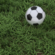 Stock Photo: Soccer ball on grass pitch