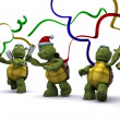 Tortoises celebrating at a christmas party — Stock Photo