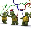 Stock Photo: Tortoises celebrating at a christmas party