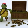 Tortoise pirate with treasure chest — Stock Photo #37856233
