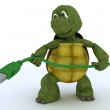 Tortoise with a firewire cable — Stock Photo #37856295