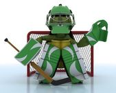 Tortoise playing ice hockey — Stock Photo