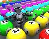 Robot with bingo balls — Stock Photo