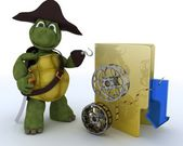 Pirate Tortoise depicting illegal movie downloads — Stock Photo