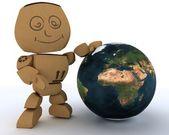Cardboard Box figure with globe — Stockfoto