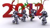 Robot Bringing the new year — Stock Photo
