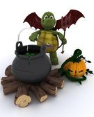 Deamon Tortoise with cauldron of eyeballs on log fire — Stock Photo