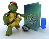 Pirate Tortoise depicting illegal movie downloads — Stok fotoğraf