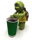 Tortoise with a soda and a straw — Stock Photo