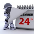 Robot with a calender — Stock Photo