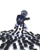 Robot defending against virus attack — Stockfoto