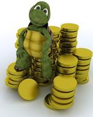Tortoise sat on gold coins — Stock Photo
