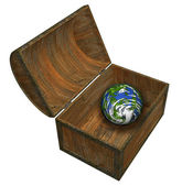 Earth in treasure chest — Stock Photo