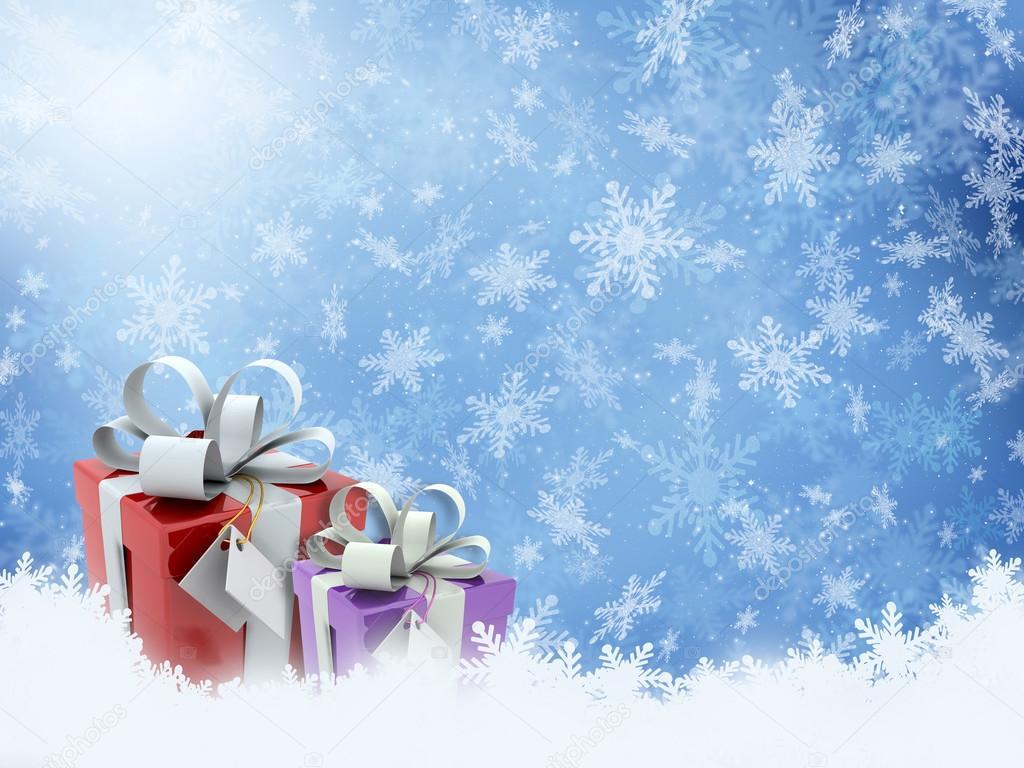 雪花背景上的圣诞礼物